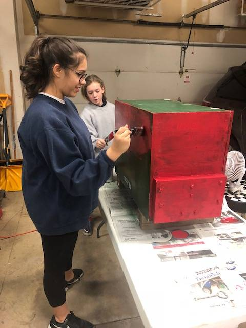 Ella Vanegas and Ashlyn Ferguson work on a project. As of Feb. 1, Boy Scout Troop 32 became the first in Arlington Heights to accept girls.
