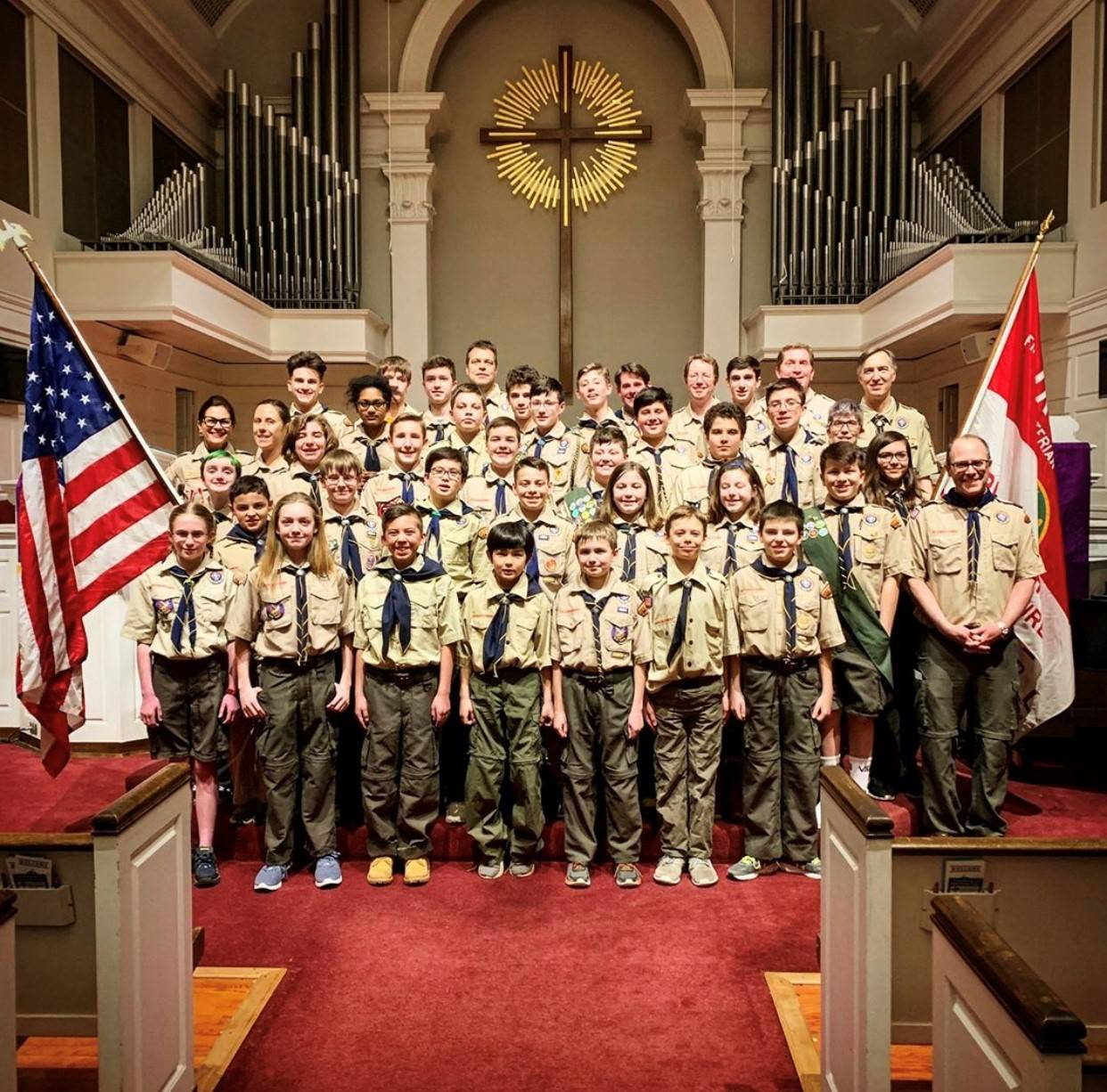 Boy Scout Troop 32's Spring Court of Honor in 2019, including girls in Troop 32. Of its 40 Scouts, nearly a dozen are girls, who range in age from fifth through seventh grade.