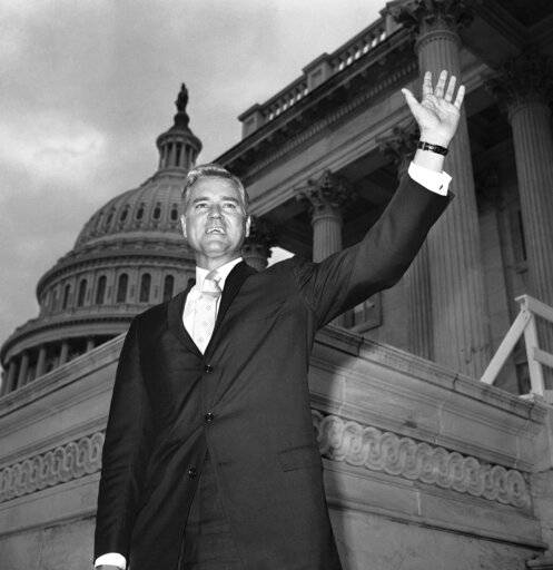 FILE - In this Nov. 10, 1966 file photo, Senator-elect Ernest Hollings, D-S.C., poses in front of the Capitol in Washington. Hollings, a moderate six-term Democrat who made an unsuccessful bid for the presidency in 1984, has died. He was 97. Family spokesman Andy Brack says Hollings died early Saturday, April 6, 2019.
