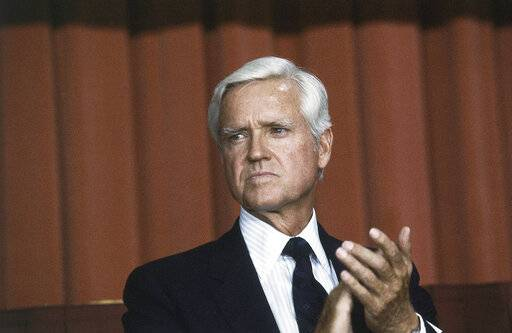FILE - This July 20, 1983 file photo shows Senator Ernest F. Hollings (D-S.C.) in Washingrton D. C. Hollings, a moderate six-term Democrat who made an unsuccessful bid for the presidency in 1984, has died. He was 97. Family spokesman Andy Brack says Hollings died early Saturday, April 6, 2019.
