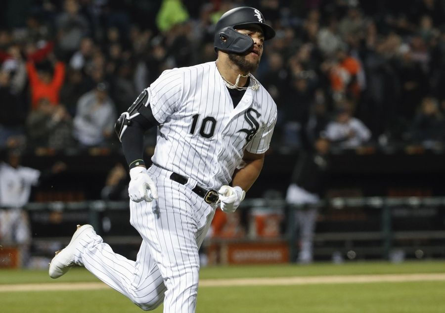 5b2e01ab327 White Sox s Yoan Moncada rounds the bases after hitting a solo home run off  of Kansas