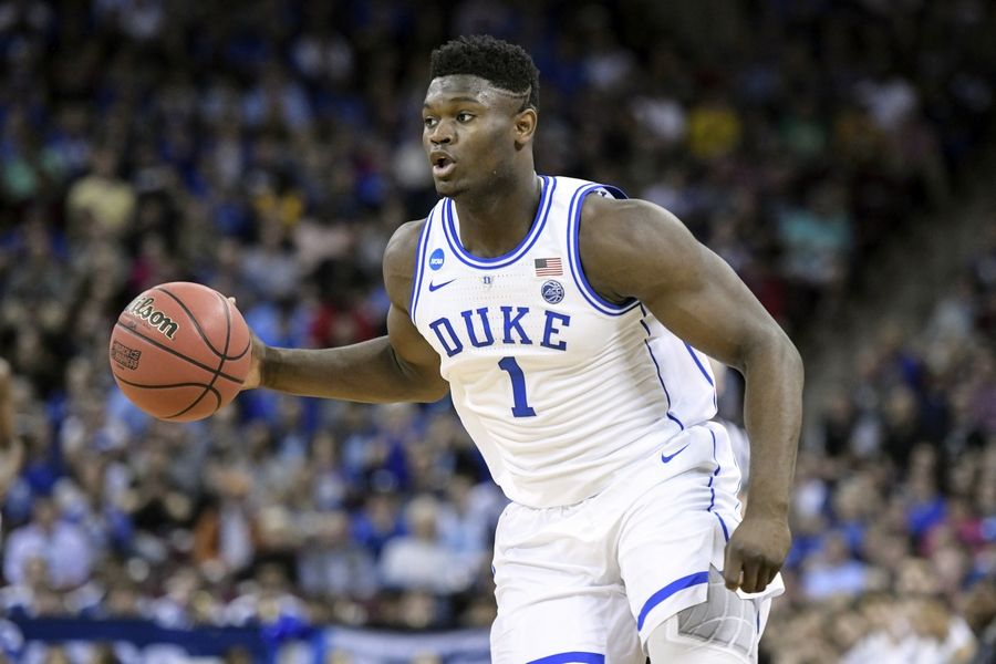 Duke forward Zion Williamson dribbles the ball against Central Florida during the NCAA tournament in Columbia, S.C., on March 24. Williamson, who was named the John R. Wooden Men's Player of the year, is all but certain to be the first pick of the draft.