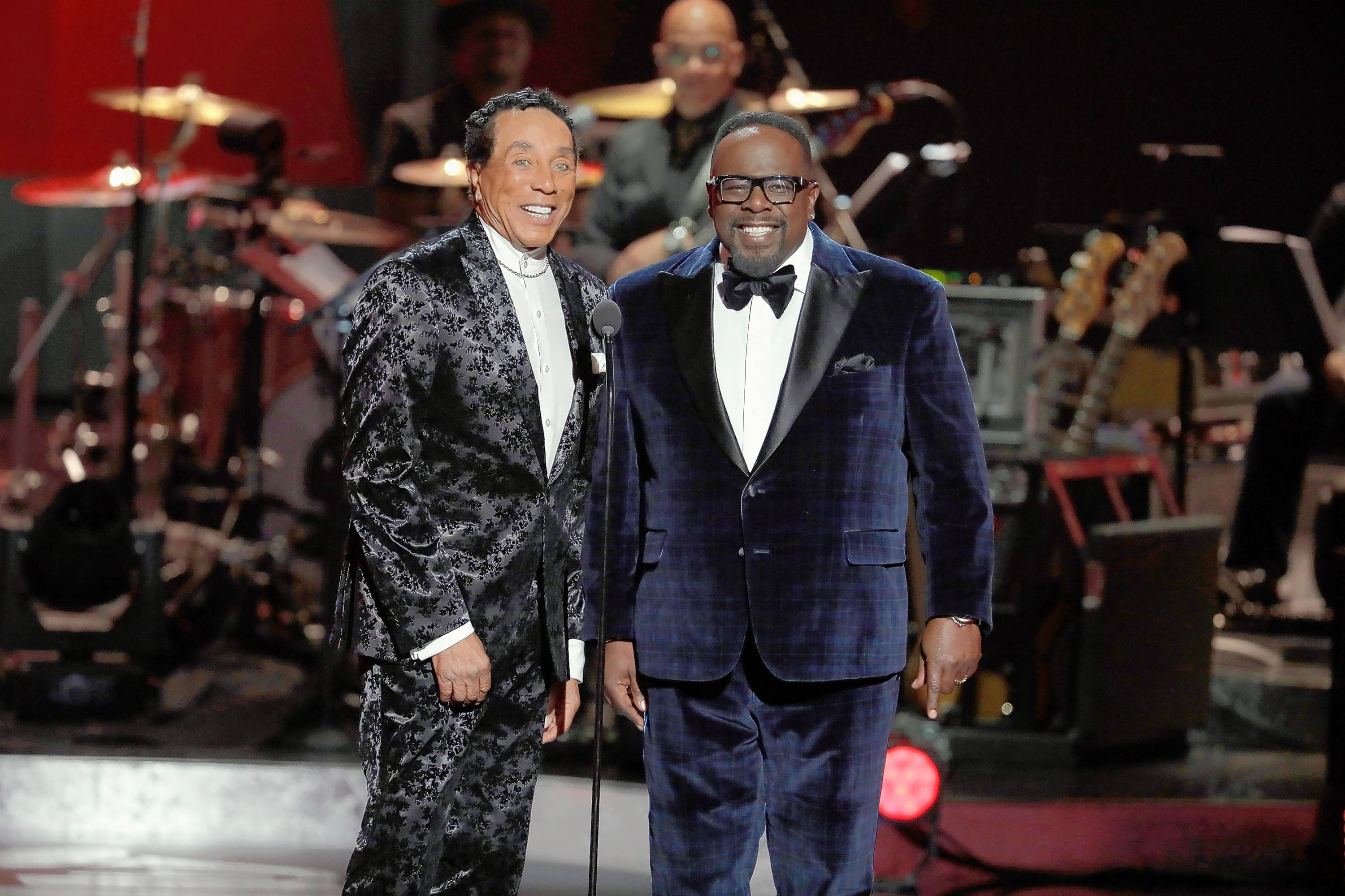 "Smokey Robinson, left, and Cedric the Entertainer host the CBS special ""Motown 60: A Grammy Celebration,"" airing Sunday, April 21."