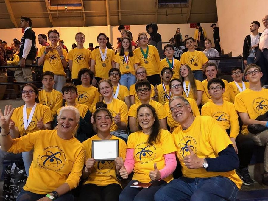 """Team Abbott"" from Abbott Middle School in Elgin came in fourth overall in their division at the Illinois State Science Olympiad Finals April 13."