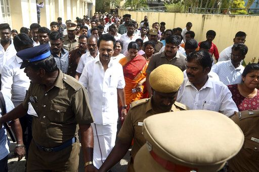 Dravida Munnetra Kazhagam (DMK) leader M.K. Stalin walks outside a polling station after casting his vote during the second phase of India's general elections in Chennai, India, Thursday, April 18, 2019. The Indian election is taking place in seven phases over six weeks in the country of 1.3 billion people. Some 900 million people are registered to vote for candidates to fill 543 seats in India's lower house of Parliament.