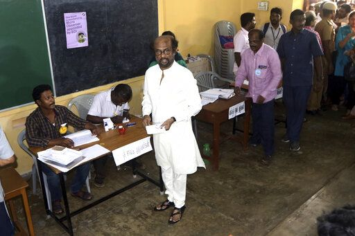 Indian superstar Rajnikanth arrives to cast his vote during the second phase of India's general elections in Chennai, India, Thursday, April 18, 2019. The Indian election is taking place in seven phases over six weeks in the country of 1.3 billion people. Some 900 million people are registered to vote for candidates to fill 543 seats in India's lower house of Parliament.