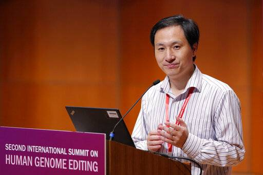 FILE - In this Wednesday, Nov. 28, 2018 file photo, He Jiankui speaks during the Human Genome Editing Conference in Hong Kong. On Tuesday, April 17, 2019, Stanford University said they had cleared three faculty members of any wrongdoing in dealings with He who claims to have helped make the world's first gene-edited babies.