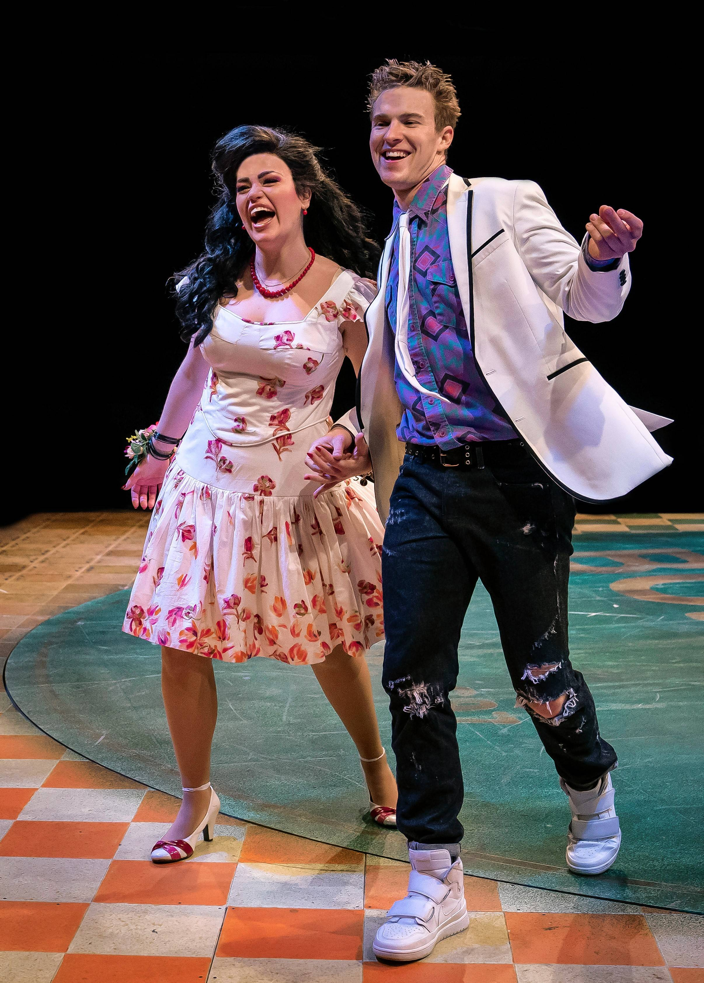 "The reverend's daughter, Ariel (Lucy Godinez), falls for ""bad boy"" Ren McCormack (Aidan Wharton) in ""Footloose."" The 1998 Broadway musical inspired by the 1984 film returns to the Marriott Theatre in Lincolnshire through Sunday, June 2."