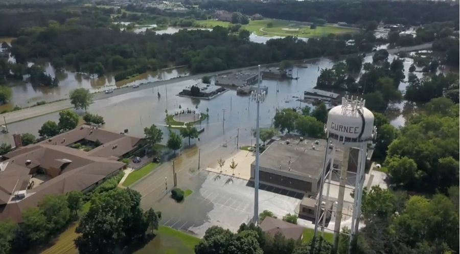 A drone photo shows the extent of the July 2017 flooding in downtown Gurnee. According to the village, the average flood event there will be worse because of the large Foxconn development in southeastern Wisconsin.