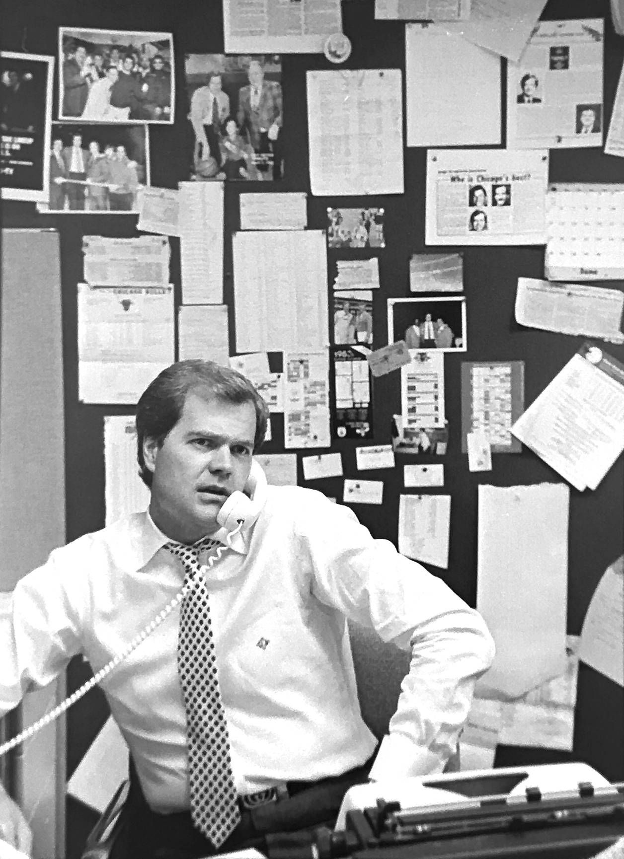 WMAQ-Channel 5 sportscaster Chet Coppock in his Chicago office in July 1983.