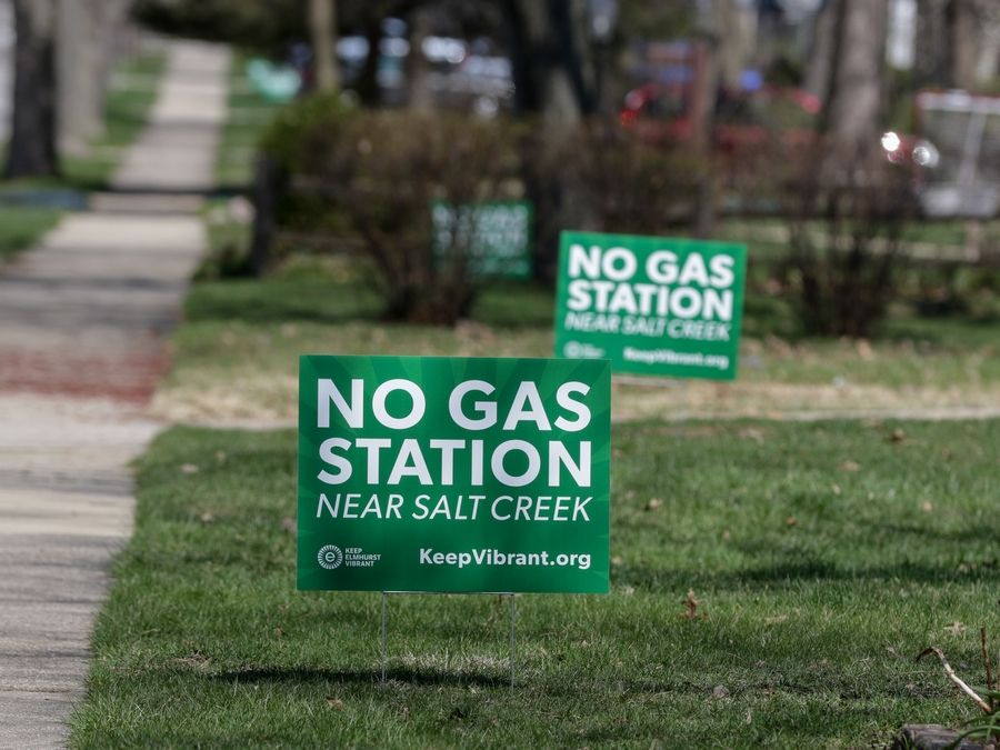 Signs have popped up in neighborhoods near the site of a proposed gas station in Elmhurst at the northwest corner of Route 83 and St. Charles Road.