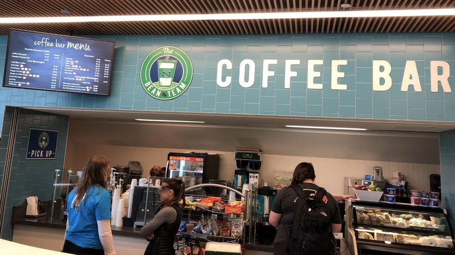 This coffee bar is at New Trier High School in Winnetka and operated by Quest Food Management Services Inc. Quest will take over at Barrington High School in 2019-20 and will and pay the cost of building a coffee bar there.