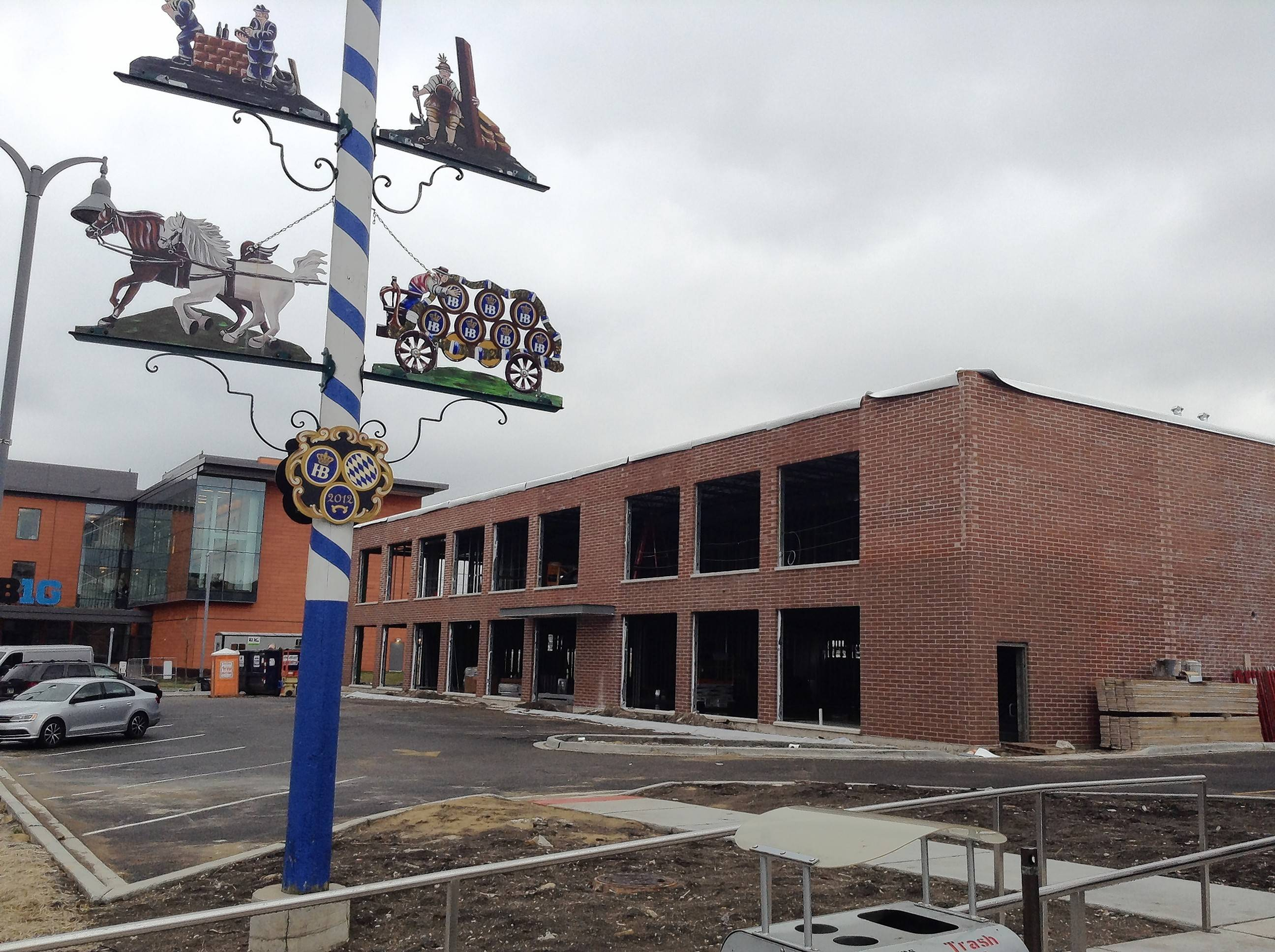 A two-story, 20,000-square-foot Harley-Davidson dealership is under construction next to Hofbrauhaus Chicago and the Big Ten Conference headquarters in Rosemont.