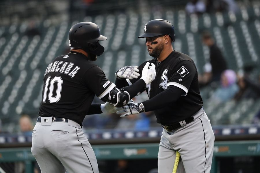 69ee090970f Chicago White Sox s Yoan Moncada (10) celebrates his solo home run with  Yonder Alonso