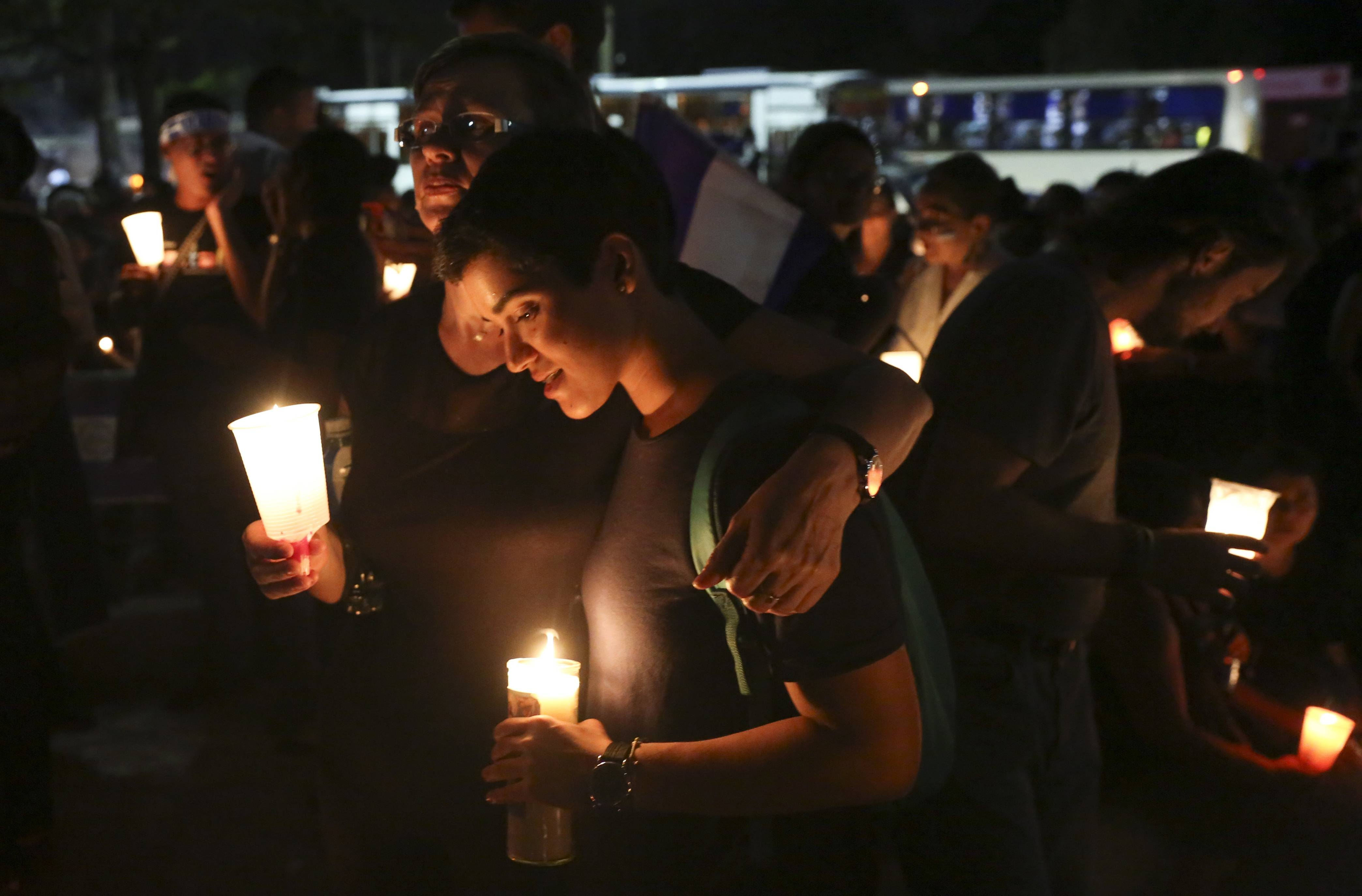 A 2018 candlelight vigil in Managua, Nicaragua, honors a slain journalist. The 2019 World Press Freedom Index shows that Nicaragua fell 24 places from the previous year's list to 114th. The U.S. fell three places to 48th.