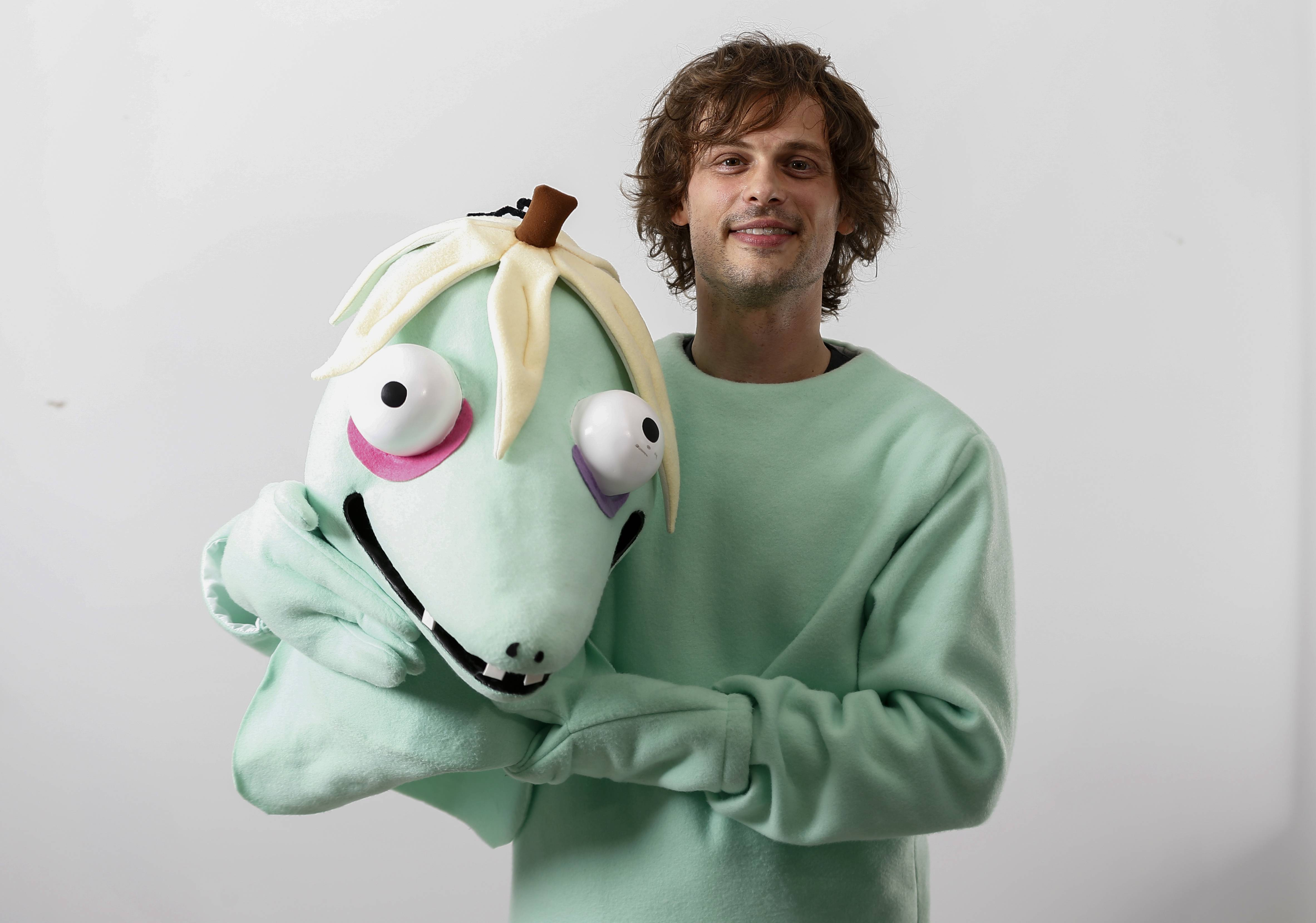 "Actor and author Matthew Gray Gubler wears a costume of his title character in his new children's book, ""Rumple Buttercup: A Story of Bananas, Belonging and Being Yourself."""