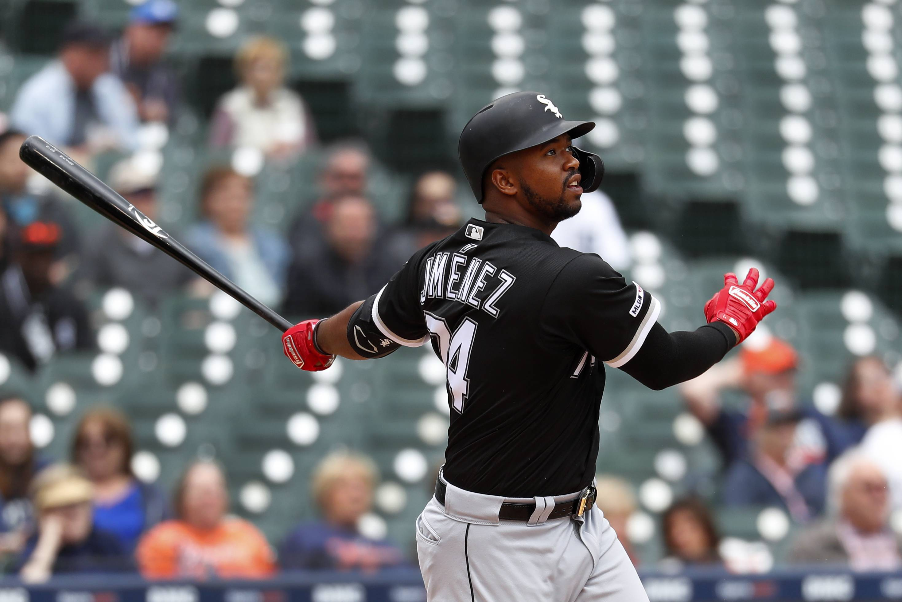 The White Sox's Eloy Jimenez hits a 2-run home run against the Tigers in the sixth inning of a baseball game in Detroit on Thursday. In his first 19 games with the Sox, Jimenez has a .242/.300/.392 hitting line with 2 doubles, 3 homers and 8 RBI.