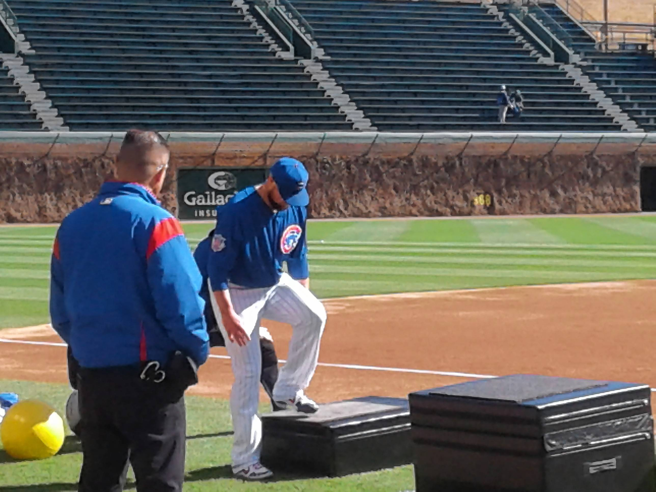 Cubs pitcher Jon Lester threw a simulated game Saturday and worked on agility drills between innings.