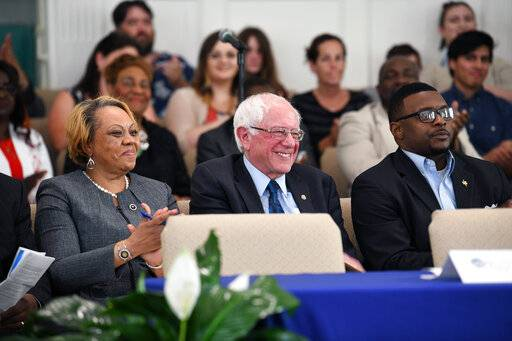 Sen. Bernie Sanders takes the stage ahead of a town hall with black lawmakers on Thursday, April 18, 2019, in Spartanburg, S.C. Ahead of the event, Sanders announced 2020 campaign endorsements from seven black South Carolina lawmakers, a show of force in state where black voters comprise more most of the Democratic primary electorate.