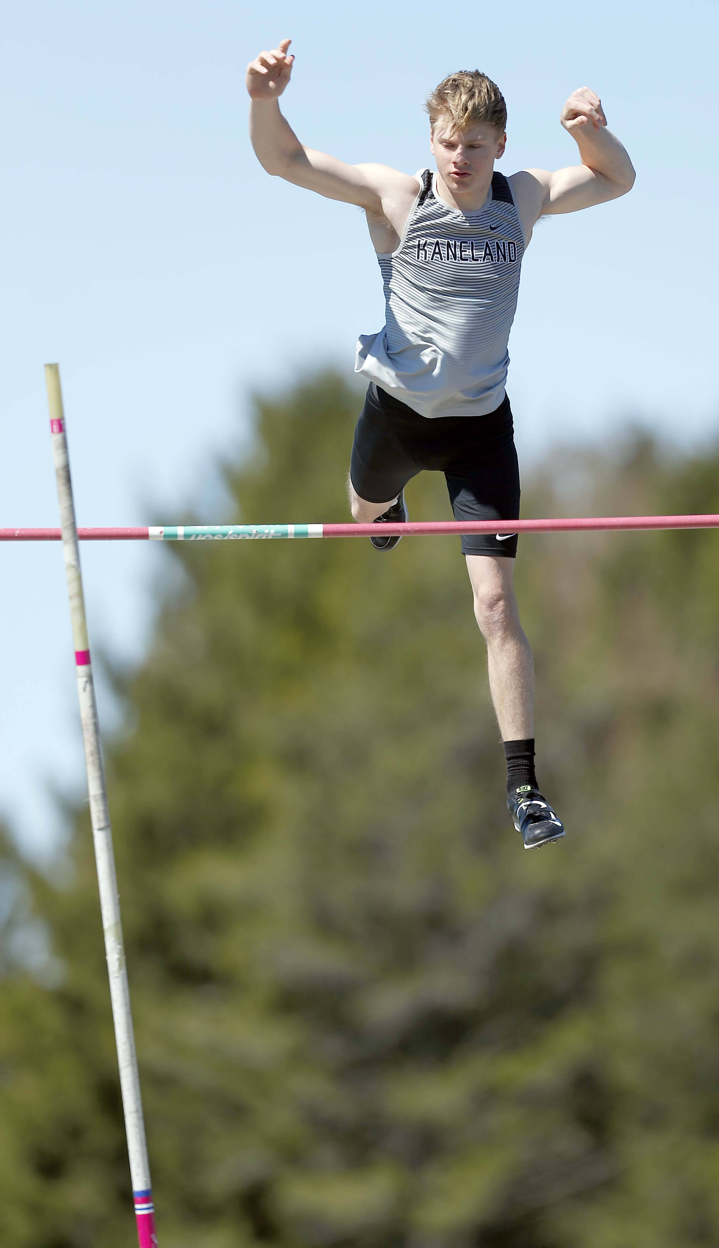 Kaneland's Ted Allen won the pole vault Saturday at the Peterson meet in Maple Park.