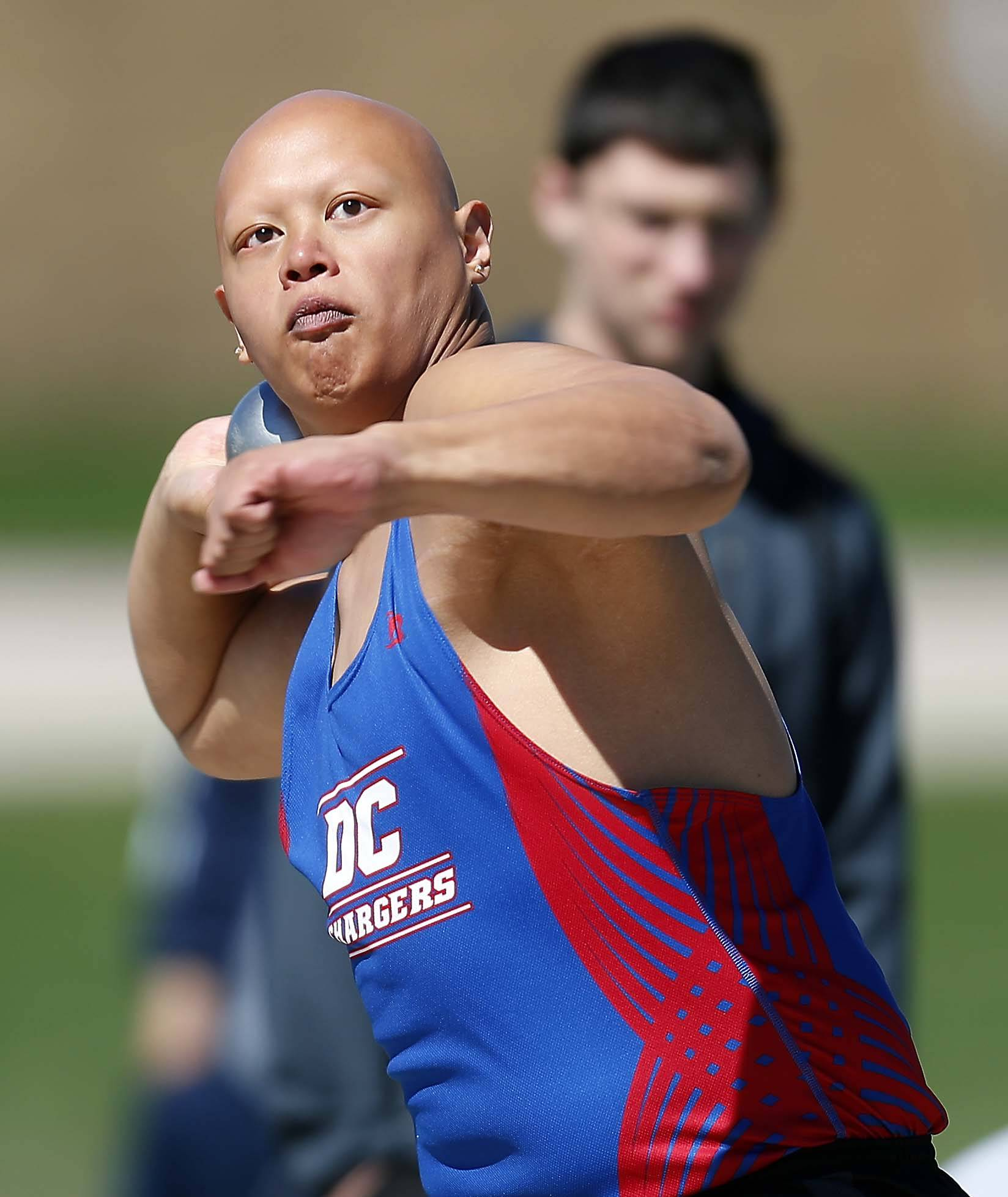 Kristian Boado of Dundee-Crown in the shot put Saturday at the Kaneland Peterson Prep Track Meet in Maple Park.