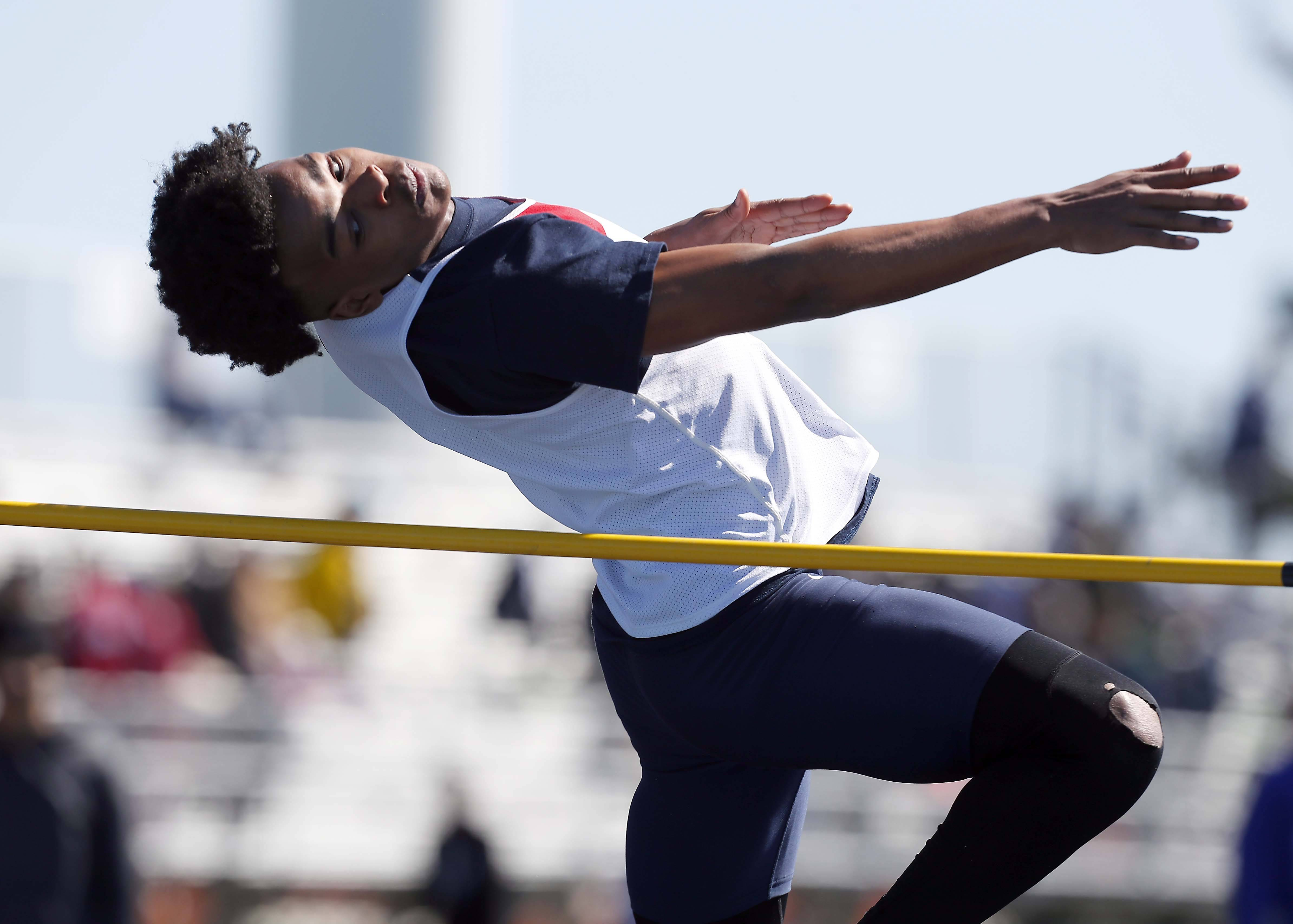 Jeremiah Johnson of West Aurora in the high jump Saturday at the Kaneland Peterson Prep Track Meet in Maple Park.