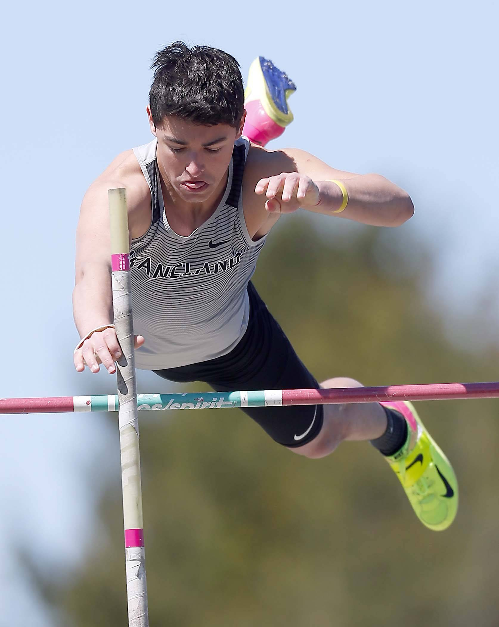 Nate Bermes of Kaneland in the pole vault Saturday at the Kaneland Peterson Prep Track Meet in Maple Park.