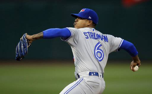Toronto Blue Jays pitcher Marcus Stroman works against the Oakland Athletics in the first inning of a baseball game Friday, April 19, 2019, in Oakland, Calif. (AP Photo/Ben Margot)