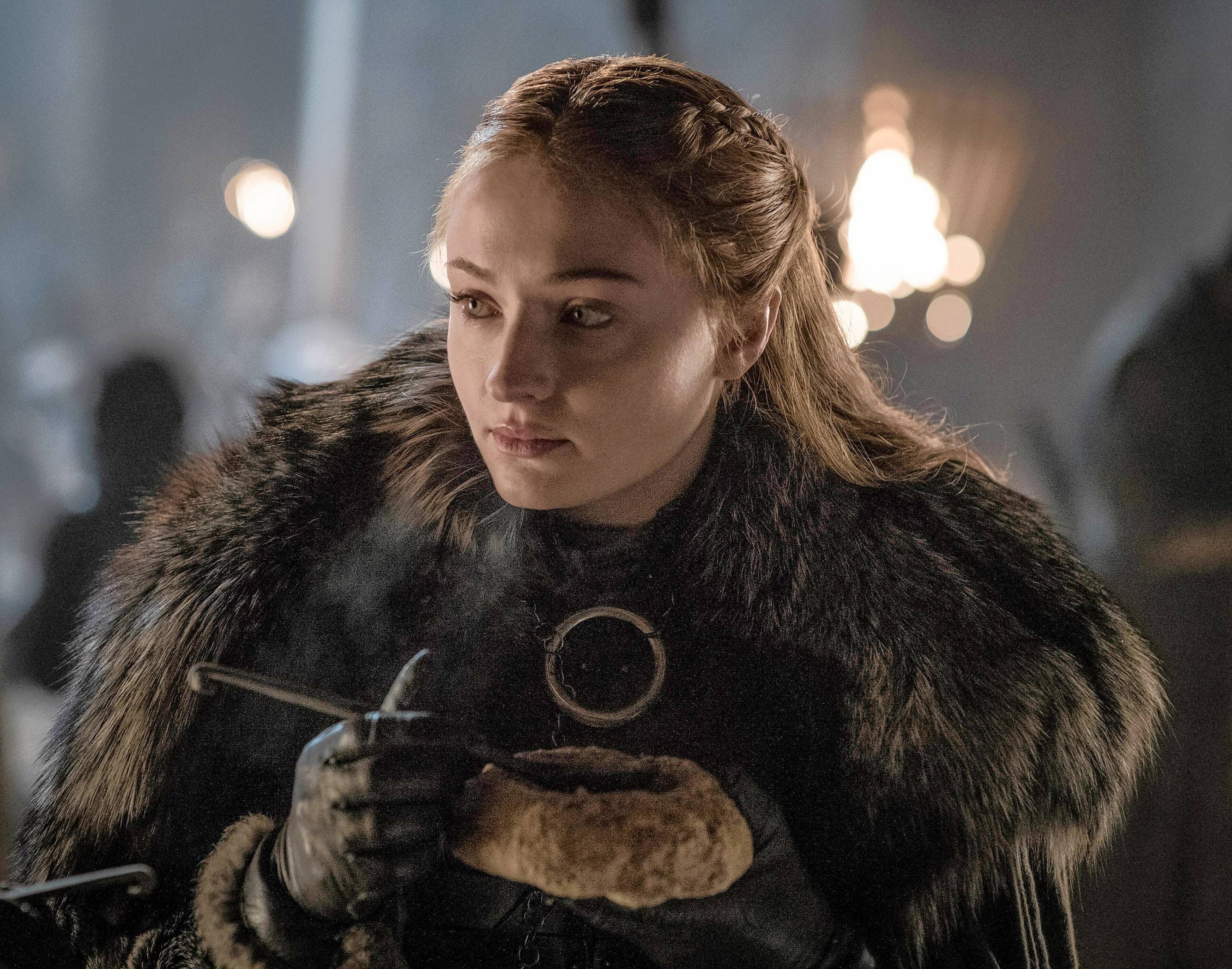 "Sansa Stark (Sophie Turner) breaks bread before the dead come knocking on Winterfell's door on this week's episode of ""Game of Thrones."""