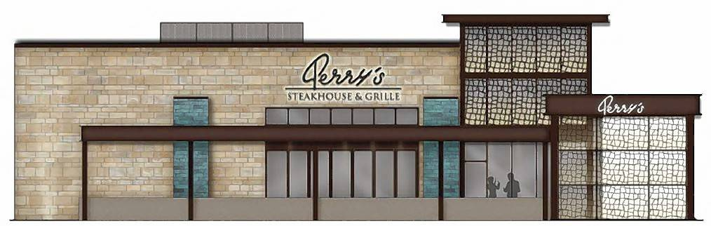 A rendering of the south side of the proposed Perry's Steakhouse that would be built on the west side of the Hyatt Regency Schaumburg on Golf Road.