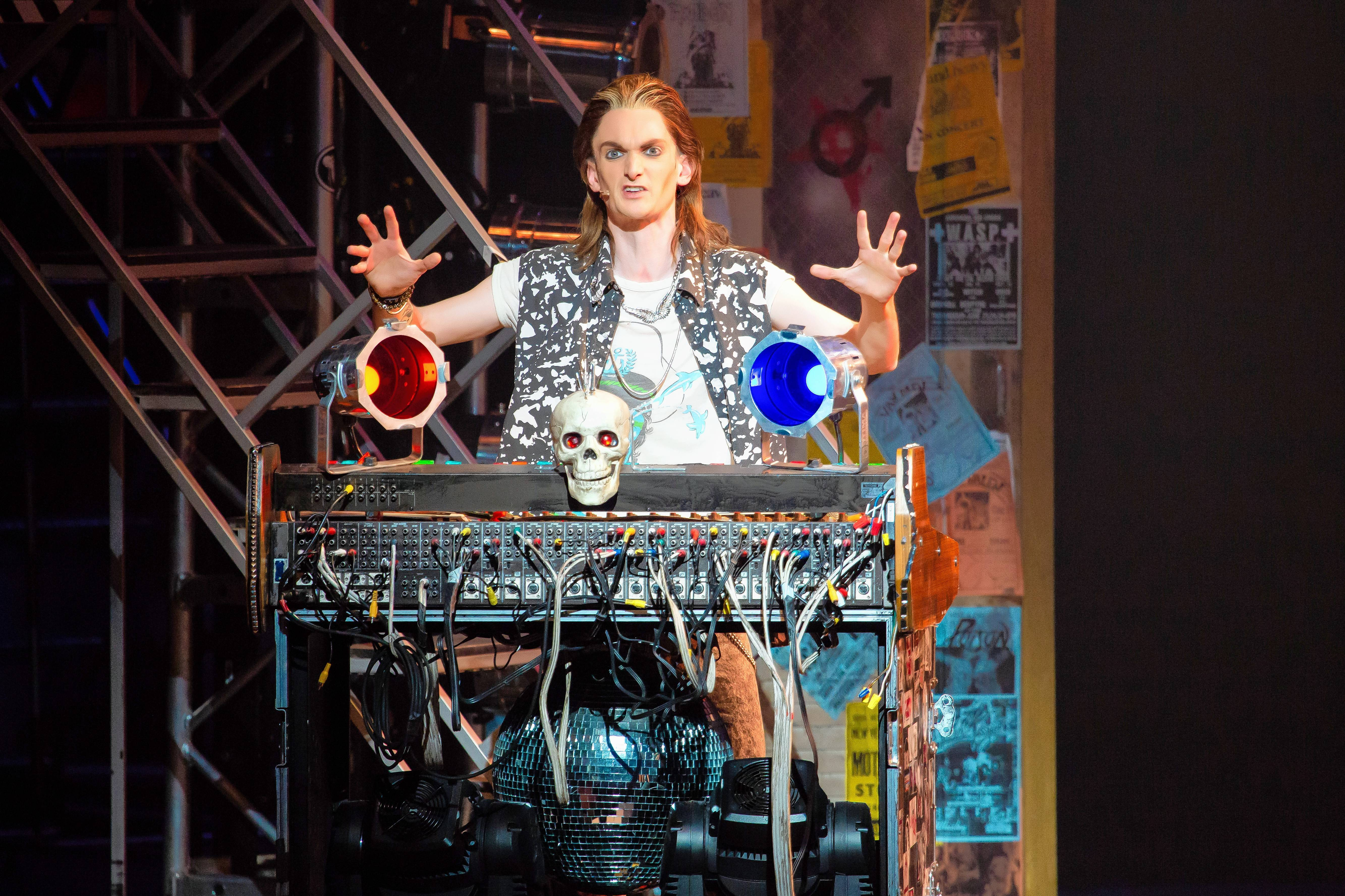 "John-Michael Breen stars in the national tour of the 1980s jukebox musical ""Rock of Ages"" at the James M. Nederlander Theatre in Chicago."