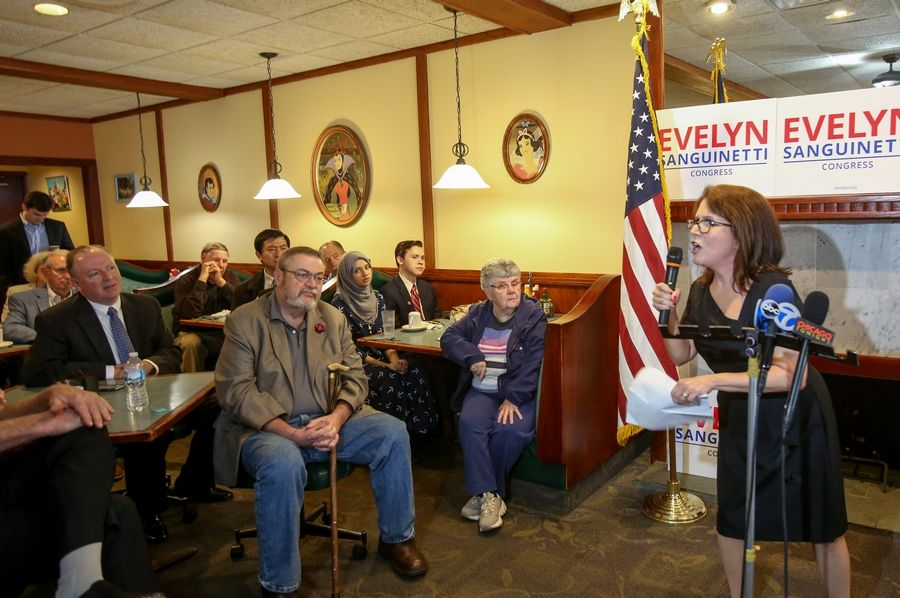 Former Lt. Gov. Evelyn Sanguinetti announces her candidacy for the Republican nomination for the 6th Congressional District seat during an appearance Monday in Wheaton.