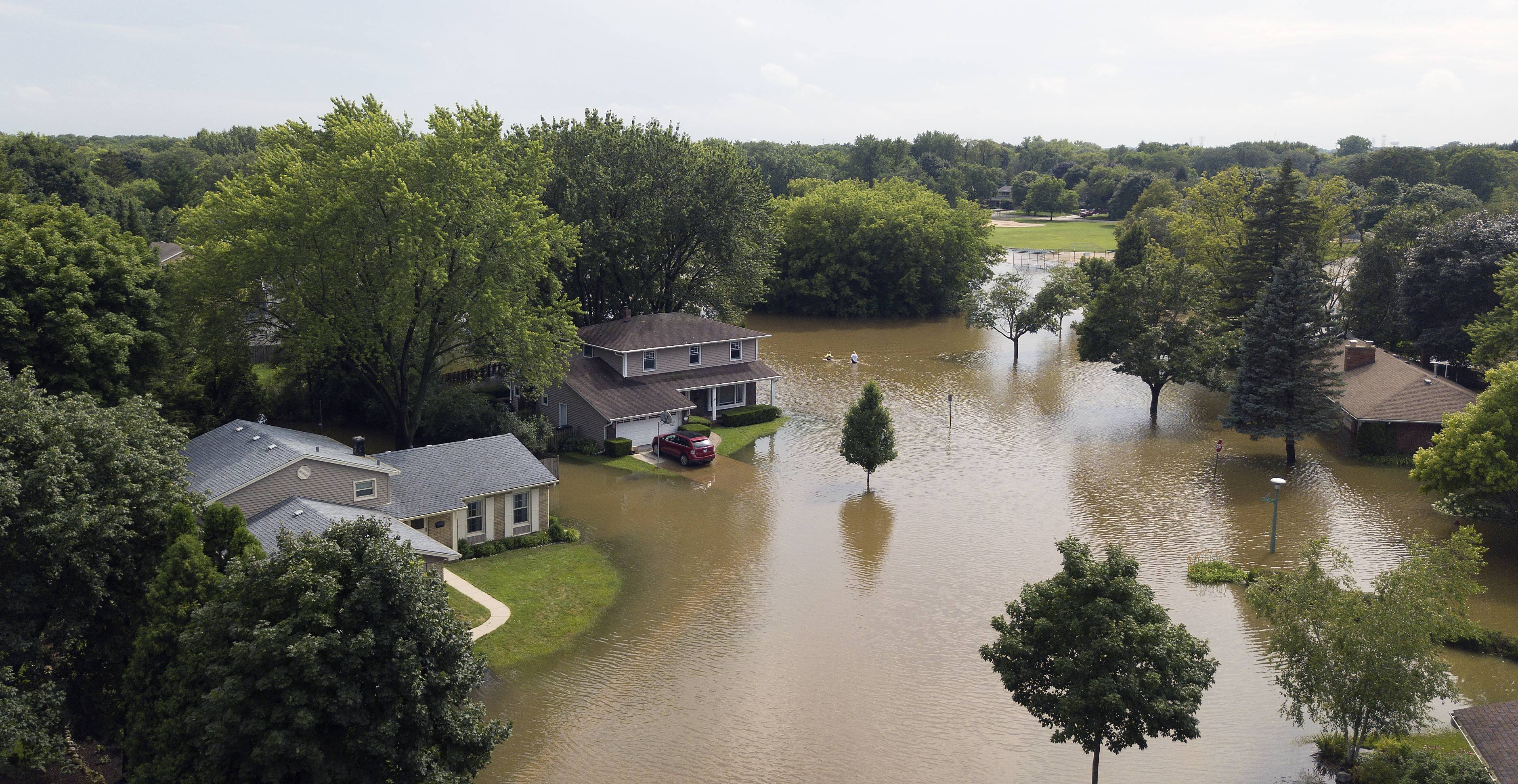 Heavy flooding at the intersection of Crane Boulevard and Dawes Road in Libertyville forced several residents out of their homes in July 2017. A pending master stormwater management plan outlines flood control projects in this and other areas of the village.