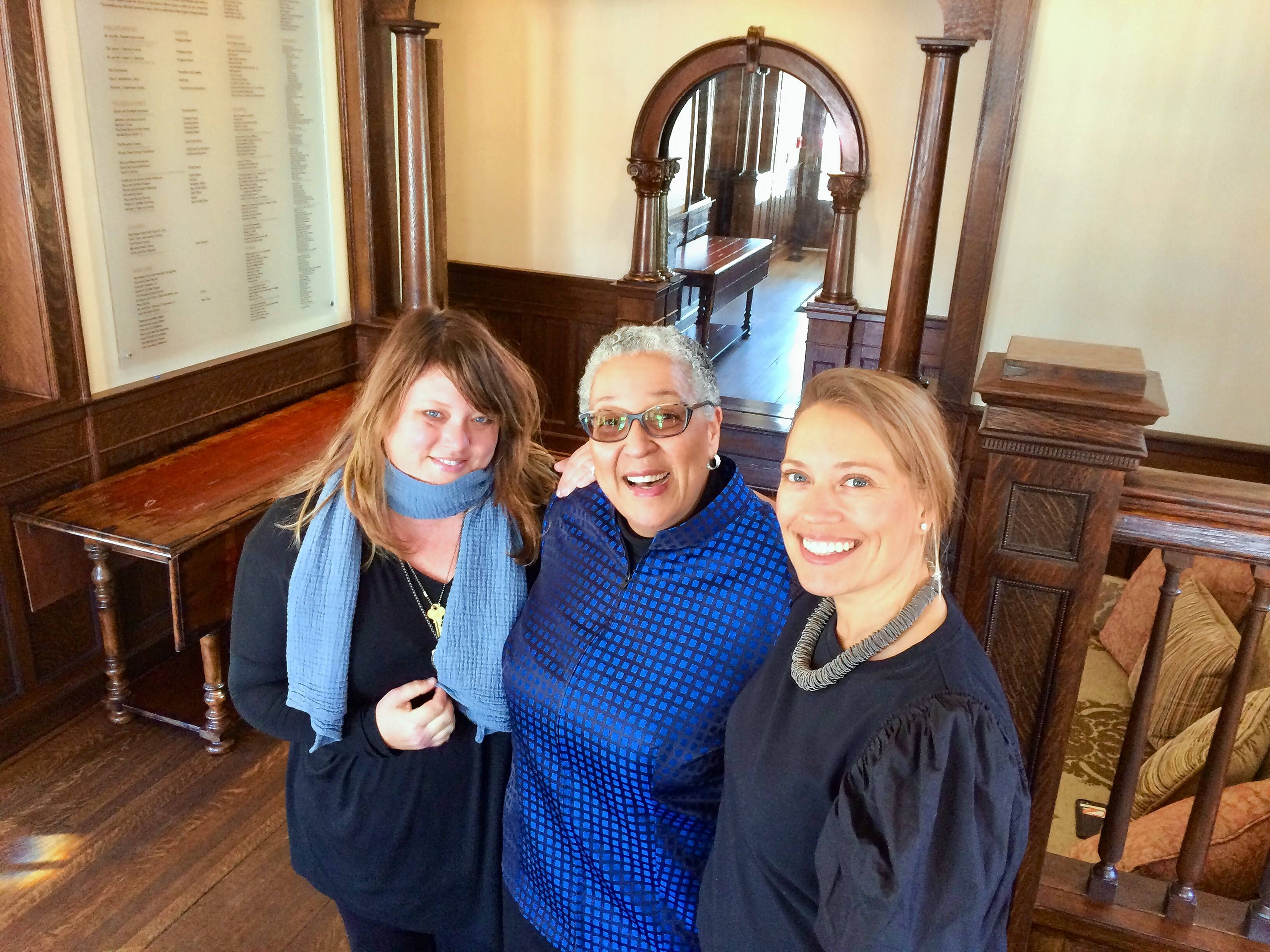 "From left, Claire Nelson, the Rev. Zina Jacque and Jessica Swoyer Green are co-organizers of ""A Year of Courageous Conversations"" starting next month in Barrington. They gathered last week to discuss plans for the series at Barrington's White House."