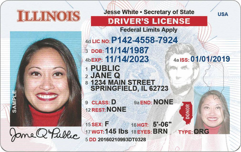 "A standard Illinois driver's license won't be enough to board domestic flights come Oct. 1, 2020, as shown by the ""Federal Limits Apply"" notation."
