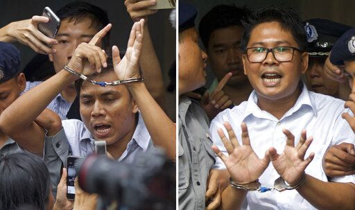 FILE - In this Sept. 3, 2018, combination file photo, Reuters journalists Kyaw Soe Oo, left, and Wa Lone, are handcuffed as they are escorted by police out of a court in Yangon, Myanmar. Myanmar's Supreme Court on Tuesday, April 23, 2019, rejected the final appeal of the two Reuters journalists and upheld seven-year prison sentences for their reporting on the military's brutal crackdown on Rohingya Muslims. They earlier this month shared with their colleagues the Pulitzer Prize for international reporting, one of journalism's highest honors.