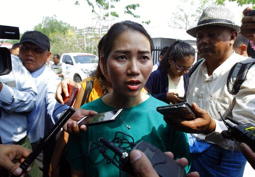 Pan Ei Mon, wife of Reuters journalist Wa Lone, talks to journalists as she leaves the Supreme Court in Naypyitaw, Myanmar, Tuesday, April 23, 2019. Myanmar's Supreme Court on Tuesday rejected the final appeal of two Reuters journalists and upheld seven-year prison sentences for their reporting on the military's brutal crackdown on Rohingya Muslims.