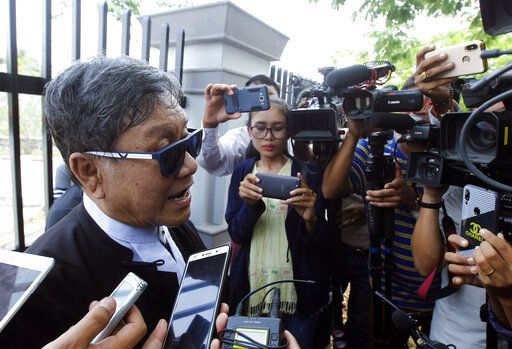 Khin Maung Zaw, a lawyer of two Reuters journalists, Wa Lone and Kyaw Soe Oo, talks to journalists as he leaves the Supreme Court in Naypyitaw, Myanmar, Tuesday, April 23, 2019. Myanmar's Supreme Court on Tuesday rejected the final appeal of two Reuters journalists and upheld seven-year prison sentences for their reporting on the military's brutal crackdown on Rohingya Muslims.