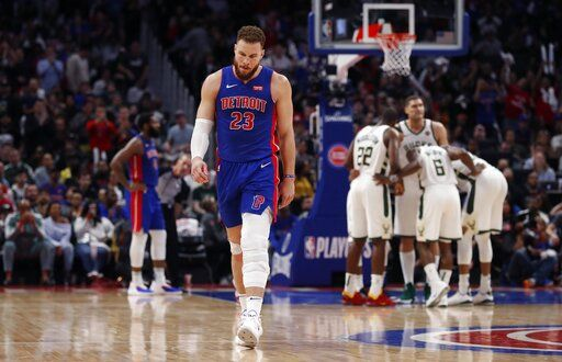 Detroit Pistons forward Blake Griffin walks to the bench after fouling out during the second half of Game 4 of a first-round NBA basketball playoff series against the Milwaukee Bucks, Monday, April 22, 2019, in Detroit.