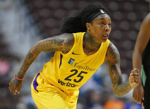 FILE - In this Wednesday, May 8, 2018 file photo, Los Angeles Sparks' Cappie Pondexter during a preseason WNBA basketball game in Uncasville, Conn. Cappie Pondexter knew it was time to retire from playing basketball and move on to other things in her life. The two-time WNBA champion announced her retirement Tuesday, April 16, 2019 on Instagram and spoke with The Associated Press about her decision. (AP Photo/Jessica Hill)