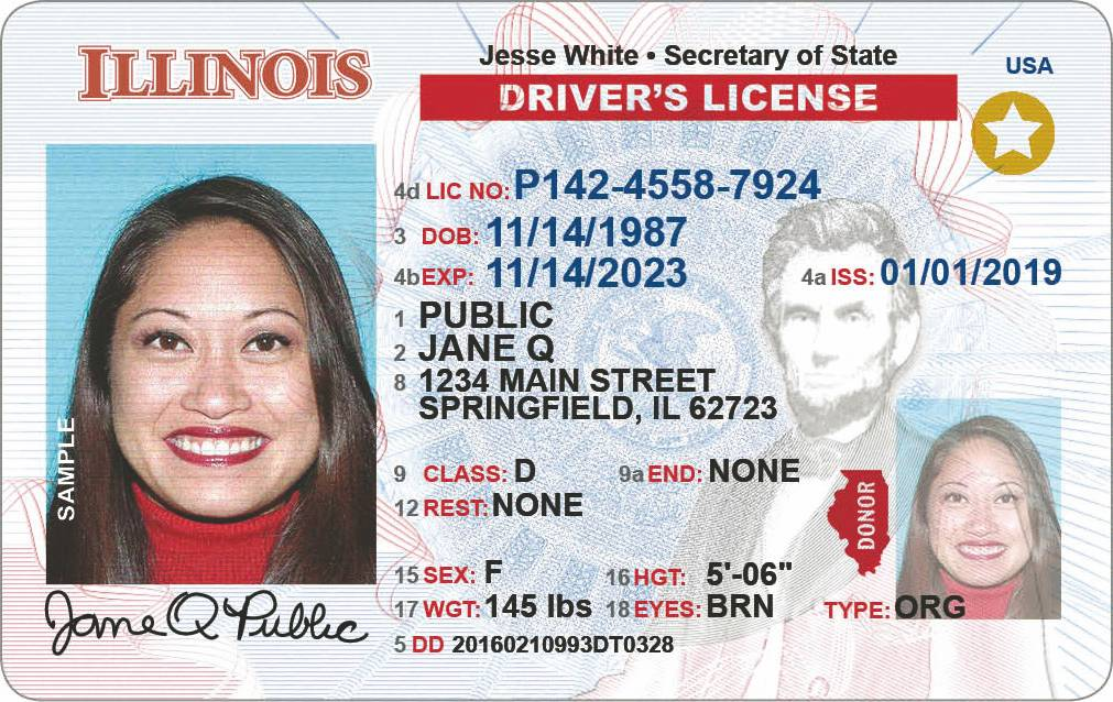 The gold star in the upper righthand corner shows this to be an Illinois driver's license that complies with new federal security rules.
