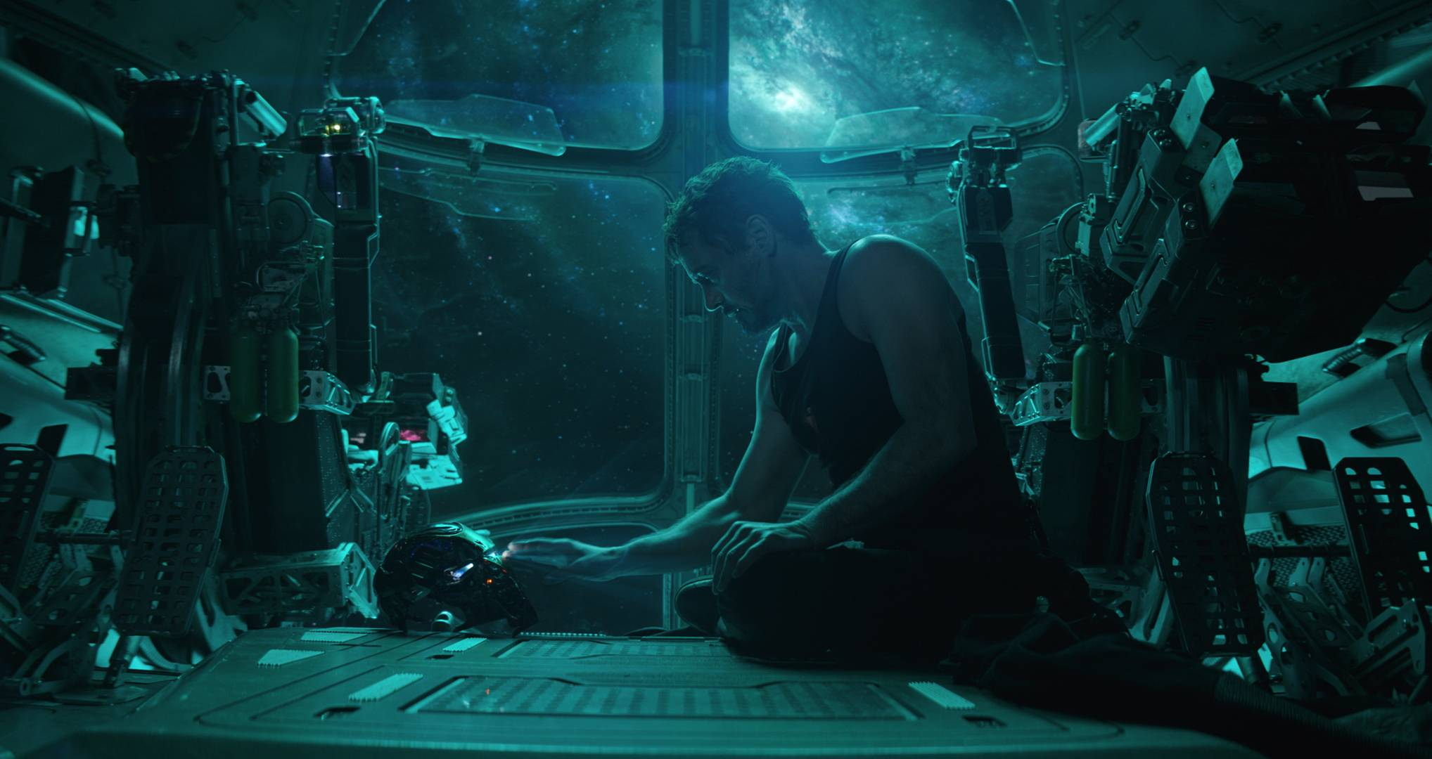 "Tony Stark (Robert Downey Jr.) records a message on his Iron Man helmet while drifting through space in ""Avengers: Endgame."""