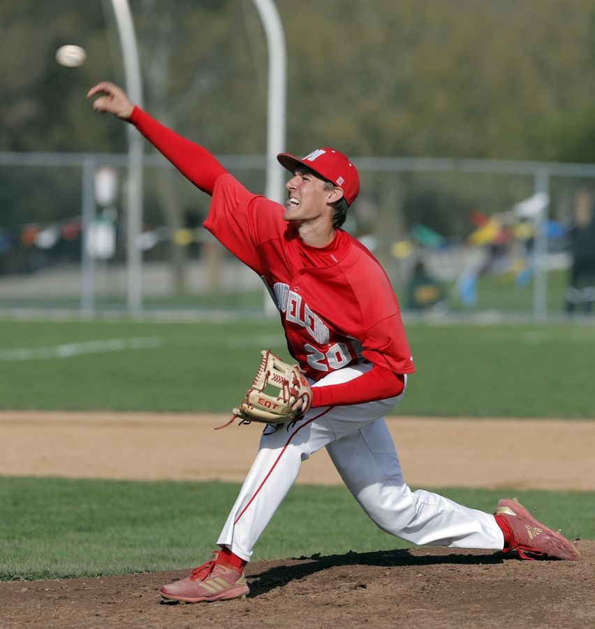 Mundelein's TJ Yakimisky pitches during their game Tuesday at Stevenson High School in Lincolnshire.