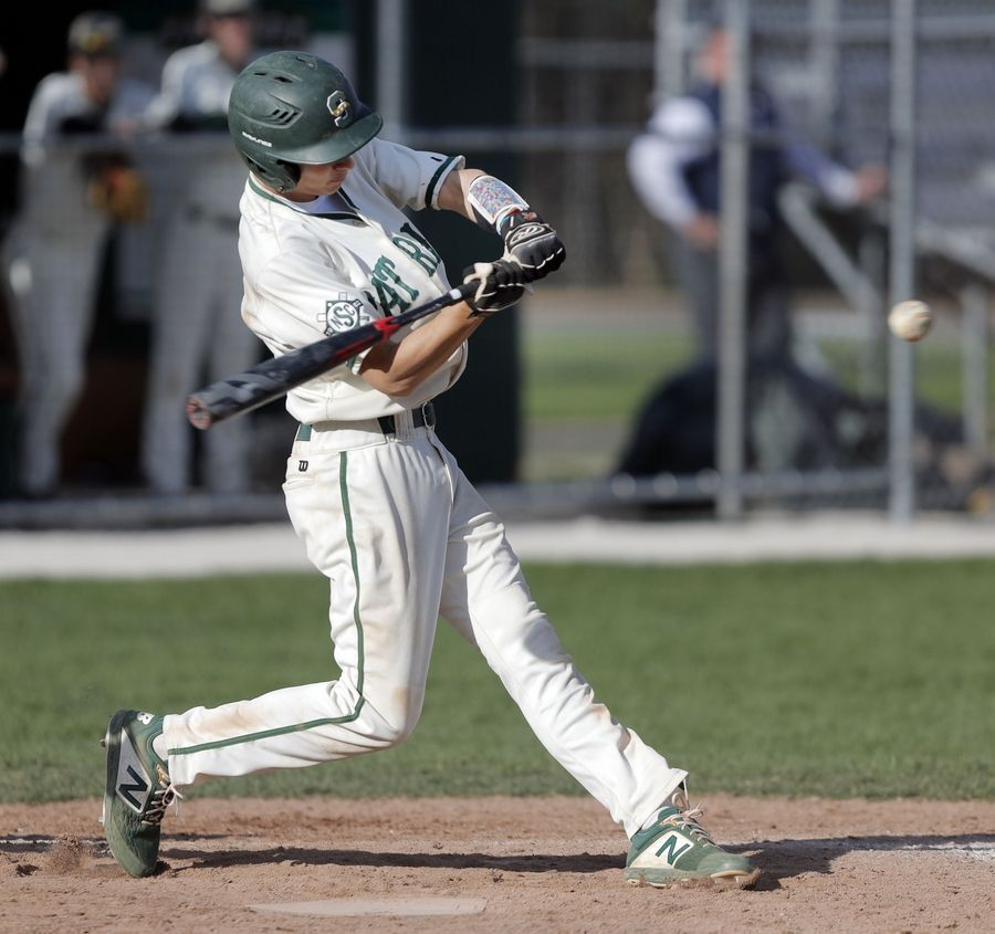 Stevenson's Chris Farina connects for a double during their game Tuesday at Stevenson High School in Lincolnshire.