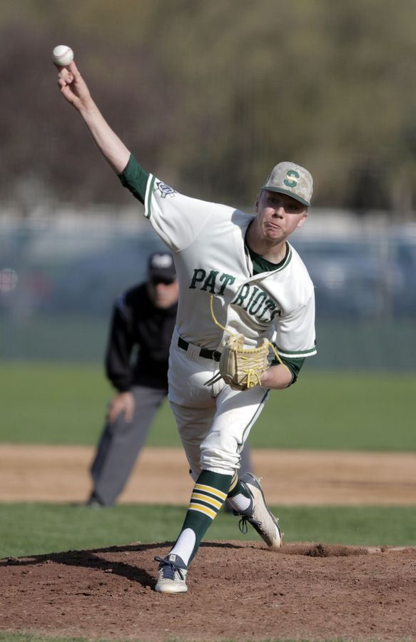Stevenson's Jacob Rosenkranz pitches during their game against Mundelein Tuesday at Stevenson High School in Lincolnshire.