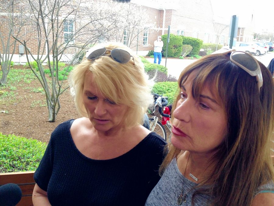 "Crystal Lake residents Jennifer Falbo, left, and Karen Danielson said they were devastated after Wednesday's Crystal Lake police news conference regarding the death of 5-year-old Andrew ""AJ"" Freund."