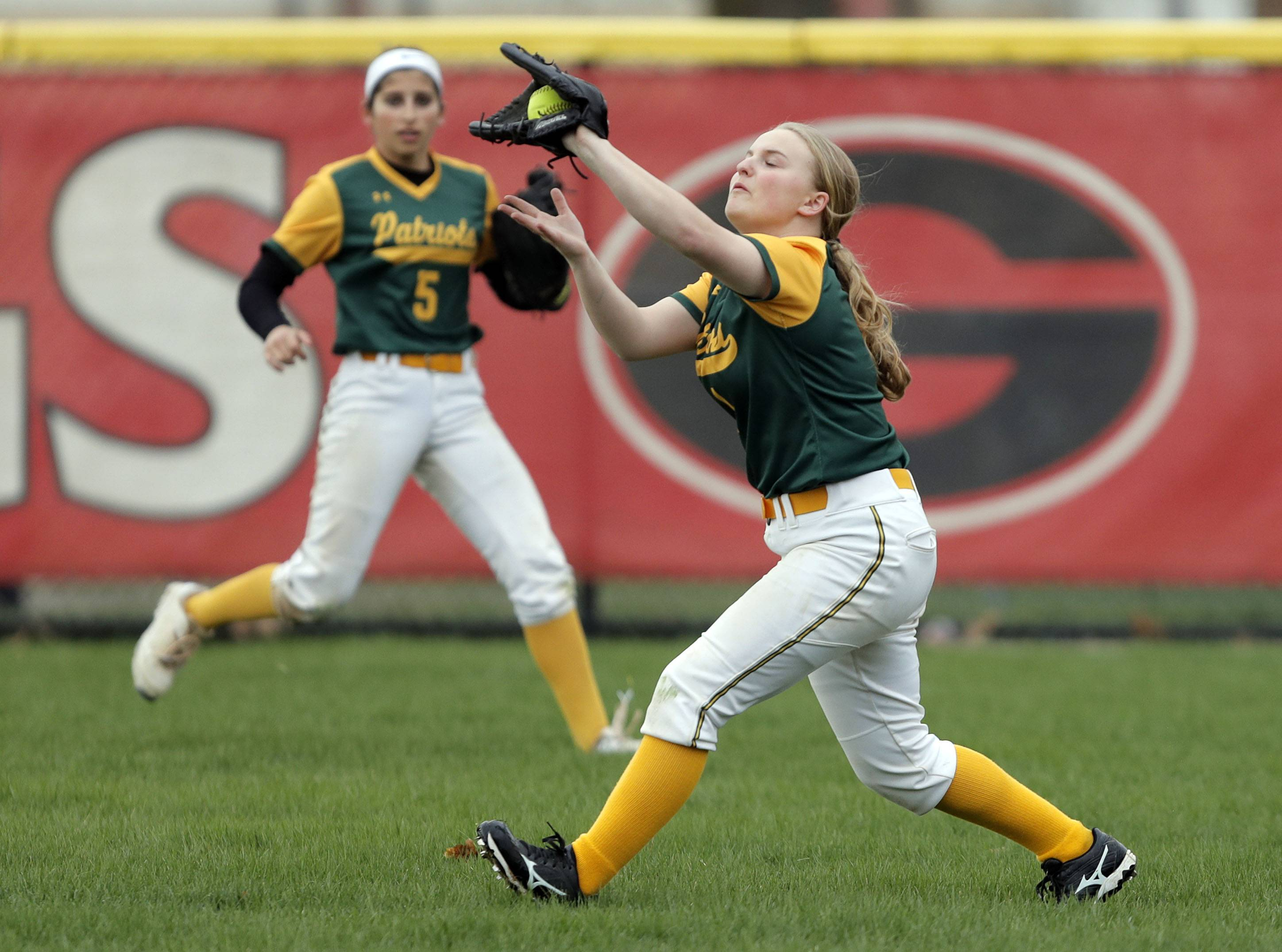 Stevenson's Lexi Gitler catches a fly ball during their game Wednesday at Grant High School in Fox Lake.