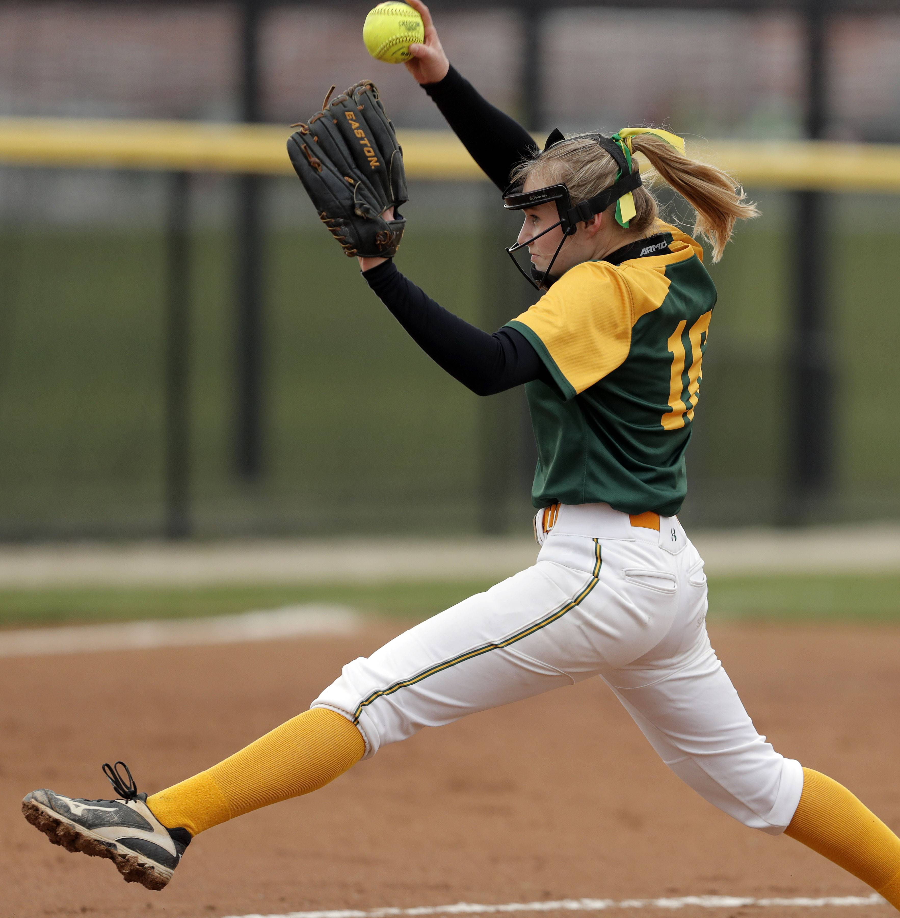 Stevenson's Riley Housinger pitches during their game Wednesday at Grant High School in Fox Lake.