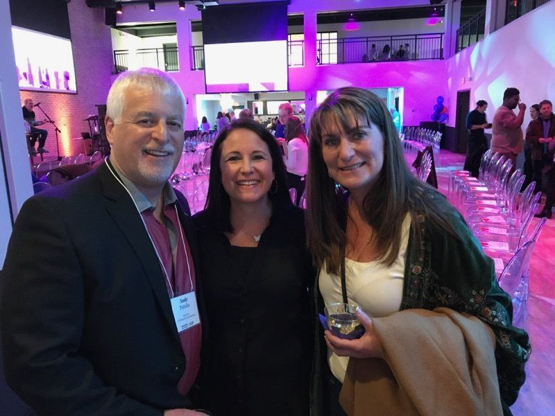 Andy Poticha enjoys his Tuned in Chicago recognition with his wife Sara (center) and fellow donor Sharon SimoneAlbert Marks
