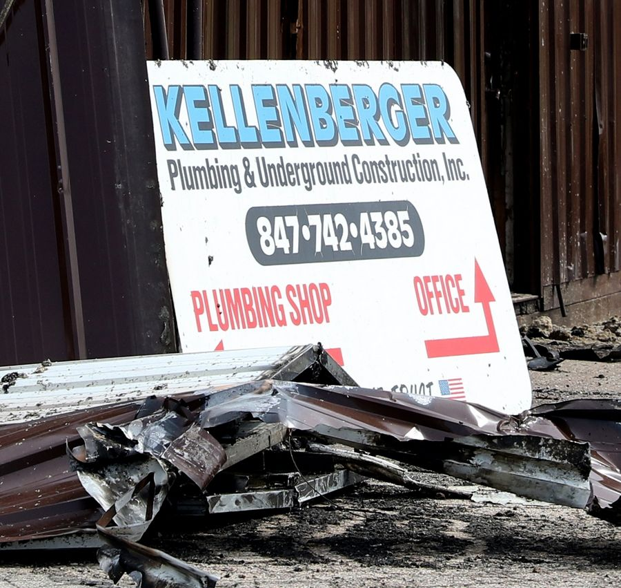 Family-owned Kellenberger Plumbing & Underground Construction, Inc. on Big Timber Road in Elgin was destroyed by a fire Wednesday, and its owner is determined to rebuild on the same site.
